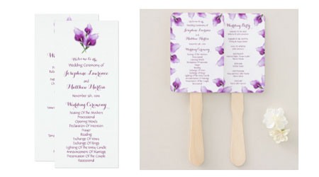 Double sided wedding ceremony program flat card and program fans featuring watercolor purple calla lilies design.