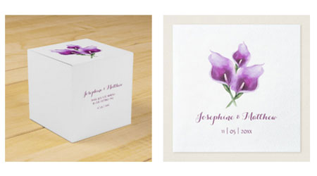 Purple calla lily wedding favor box and wedding napkins with floral watercolor design.