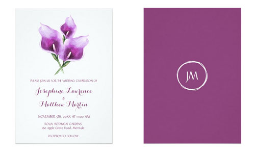 Purple calla lilies design on wedding invitation showing the front and back views with the purple calla lilies on the front and a monogram on the back of the invitation.