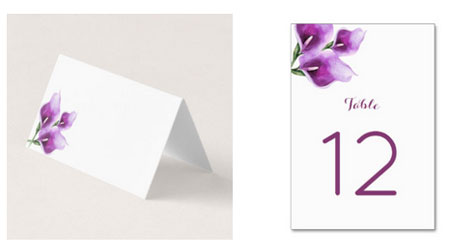 Purple calla lily wedding place card and reception table number card.