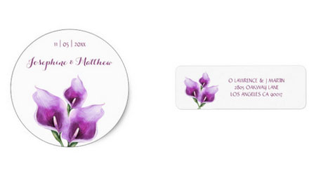Round wedding sticker and reply address labels with watercolor purple calla lilies floral design.