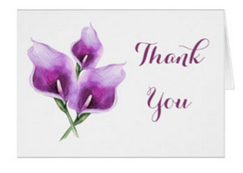 Purple calla lily wedding thank you cards with watercolor lily design.
