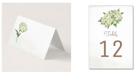 Wedding place cards and table number car with a watercolor cream peony design.
