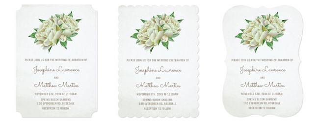 Peony wedding invitation trim options are ticket corners or scallop or bracket edges.