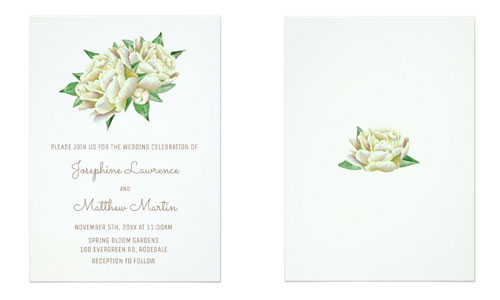 Front and back views of cream peony wedding invites.