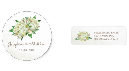 Cream peony round wedding sticker and address label with watercolor cream peony design.