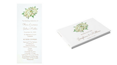 Peony watercolor wedding ceremony program and wedding guest book.