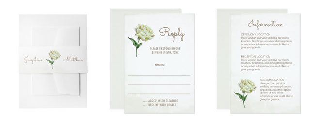 Peonywedding stationery - belly band, rsvp cards and enclosure cards with watercolor cream peony design.