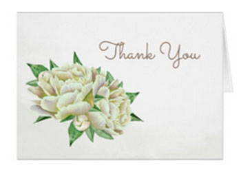 Peony wedding thank you cards with cream peony and leaves design.