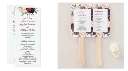 Burgundy floral wedding ceremony programs and program hand fans with burgundy rose and peony design.