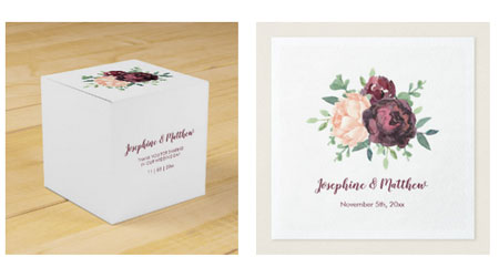 Wedding favor boxe and wedding napkins with burgundy roses and peach peony flowers.