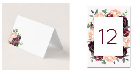 Burgundy floral rose and peony wedding place card and table number card.