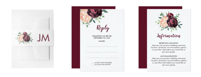 Burgundy floral belly band, reply card and enclosure card with burgundy roses and peach peonies.