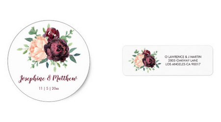 Round wedding sticker and address label featuring burgundy floral design.