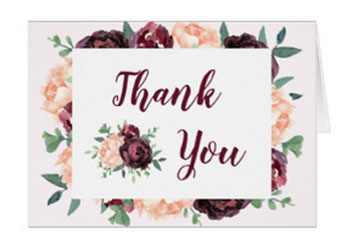 Wedding thank you card with burgundy roses, peach peonies and green foliage watercolor design.