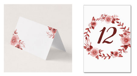Elegant fall watercolor burgundy rose wreath design place cards and table number cards with number in the center.