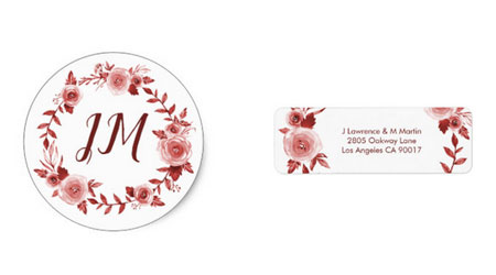 Wedding stickers and return address labels featuring a fall themed burgundy rose watercolor wreath design.