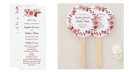 Elegant fall wedding ceremony programs and hand fans featuring a watercolor burgundy rose wreath design.