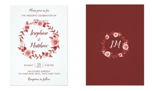 Elegant fall wedding invitations featuring a burgundy rose watercolor wreath.
