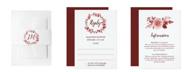 Elegant fall rose wreath matching wedding stationery belly bands, rsvp cards and enclosure cards.