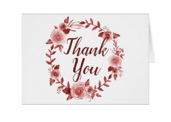 Elegant fall wedding thank you cards featuring a watercolor burgundy rose wreath design.