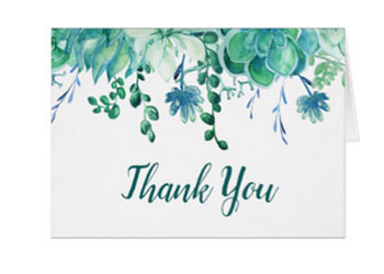 Wedding thank you card with succulents design.