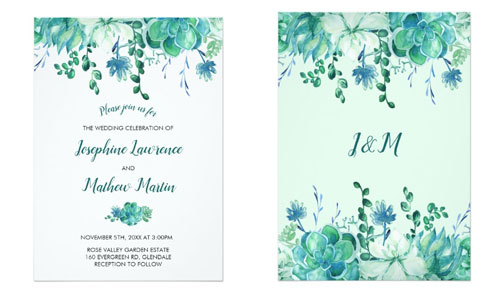 Modern wedding invitations with succulents in tones of green and turquoise.