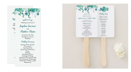 Green succulents design double sided wedding ceremony programs and program hand fans.