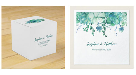Succulents wedding favor boxes and wedding napkins with bride and groom names and wedding date.