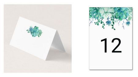 Green watercolor succulents design on wedding place card and reception table number card.