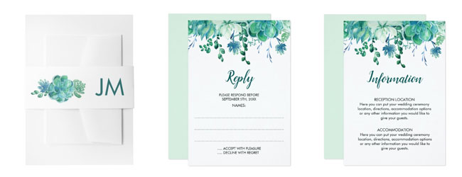 Wedding stationery with succulents design - belly band, rsvp card and directions card.