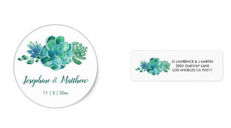 Succulent round stickers and matching address labels to use with succulents wedding invitations.