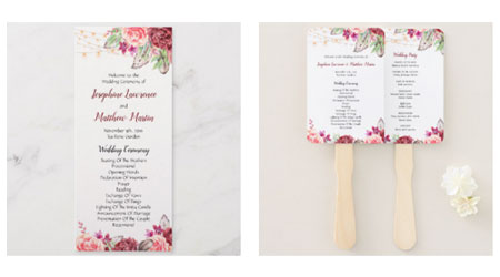 Wedding ceremony programs and double sided fans with wedding ceremony text and boho style watercolor design with feathers, roses and string lights.