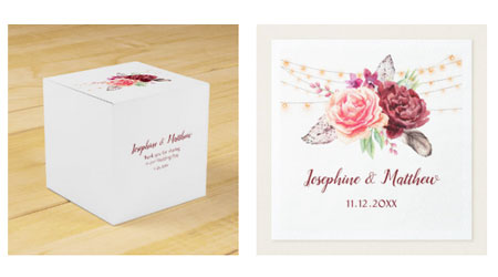 Bohemian style themed wedding favor box and wedding napkins with bride and groom names and boho style watercolor design with roses, feathers and string lights.