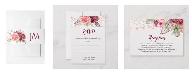 Bohemian theme belly bands, rsvp cards and reception cards wedding stationery with boho watercolor design of feathers, roses and string lights.