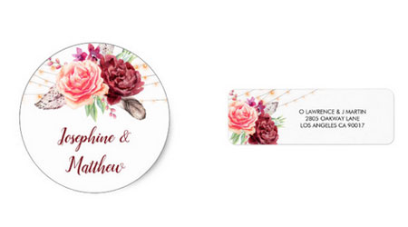 Round wedding envelope stickers and address labels with bohemian watercolor style design with feathers, roses and string lights.