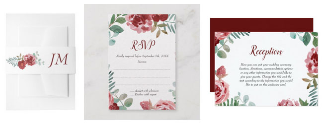 Red rose belly band with monogram, wedding reply card and reception card with floral watercolor design.