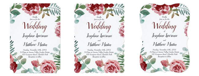 Trim options for red rose wedding invitations featuring burgundy rose and green foliage watercolor design: ticket corners or scallop and bracket edges.