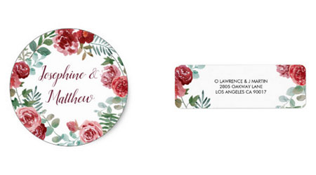 Red rose round wedding stickers and address labels with watercolor burgundy rose design with green foliage.