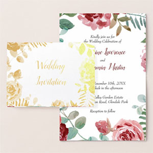 Folded red rose wedding invitations with gold foil on the front and a colored burgundy rose and foliage watercolor design on the inside.