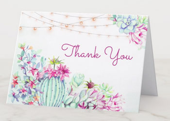 Desert cactus and string light wedding thank you note cards with watercolor succulents design.