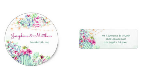 Desert themed wedding stickers with bride and groom names and desert cactus succulents design with string lights.