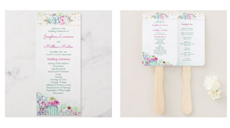 Double sided wedding ceremony program flat cards and hand fans featuring wedding ceremony text and cactus desert succulents string lights design.