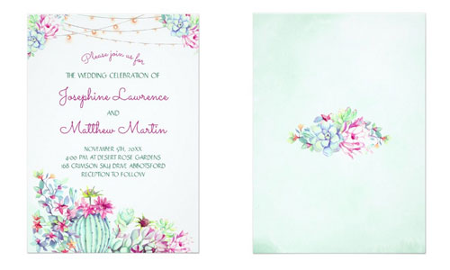 Desert themed wedding invitations with string lights and cactus and succulent foliage.