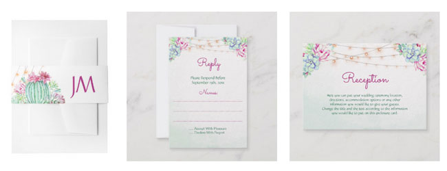 Desert and cactus themed wedding stationery with watercolor cactus design with succulent and string lights on belly bands, rsvp card and reception card.