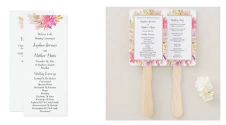 Desert succulent design wedding ceremony programs and program hand fans with watercolor succulent design.