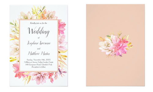 Front and back views of desert wedding invitations with succulent foliage watercolor design.