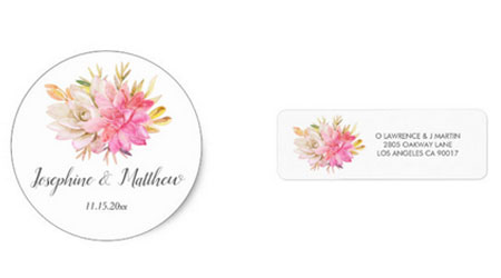 Desert themed wedding stickers and labels with watercolor succulents design.
