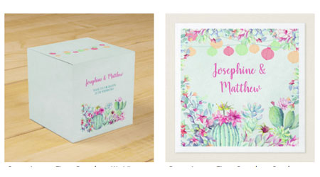 Square wedding favor box and wedding napkins featuring a festive cactus lanterns design with succulent foliage and flowers.