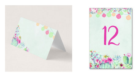 Fiesta cactus lanterns place cards and table number cards with festive colorful watercolor design.